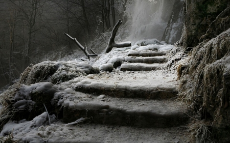Waterfall in winter - waterfall, stair, steps, frost