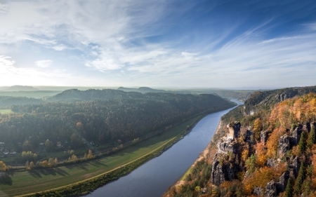 River - forest, river, cliffs, valley