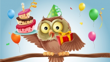 Birthday Owl - cake, candle, owl, colorful, cartoon, birthday, cute, bird, balloons, Firefox Persona theme, celebrate