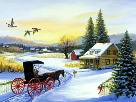 Winter Passage - cabin, snow, coach, birds, horse, trees, artwork, painting
