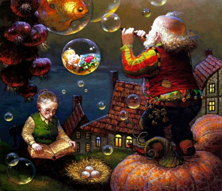 Grandmother's tales - art, luminos, grandmother, fantasy, painting, bubbles, pictura, victor nizovtsev, grandfather