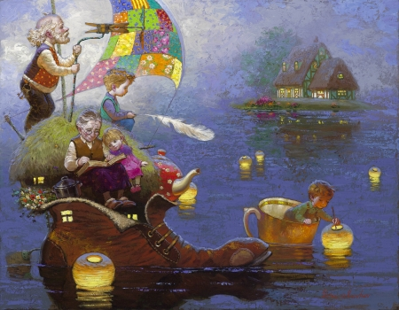 Summer dream - lantern, grandmother, fantasy, boat, painting, child, shoe, dream, pictura, light, victor nizovtsev, blue, grandfather, luminos, lake, water, ship, summer, copil