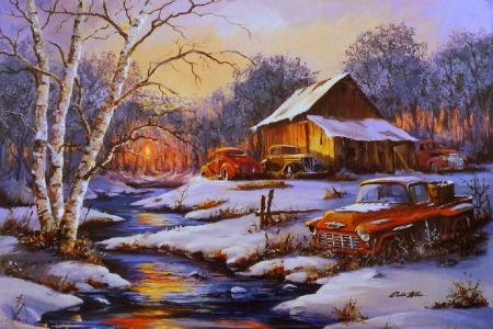 Classic Cars in Winter - snow, classic cars, winter, paintings, attractions in dreams, rural, holidays, streams, sunsets, xmas and new year, love four seasons