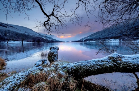 Loch Voil-Scotland - beautiful, sky, lake, winter, tranquil, serenity, loch, snow, Scotland, morning, reflection, landscape