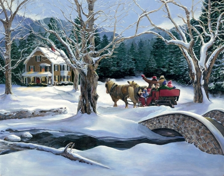Over The River - bridge, snow, winter, people, cottage, mountains, sleigh, horse, trees, artwork, painting