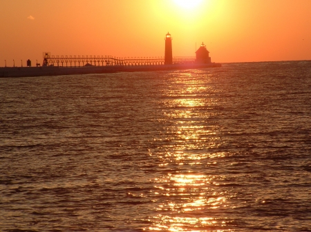 Pier_Sunset1 - pier, water, grandhaven, michigan