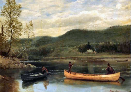 Men In Two Canoes Human Powered Boats Background