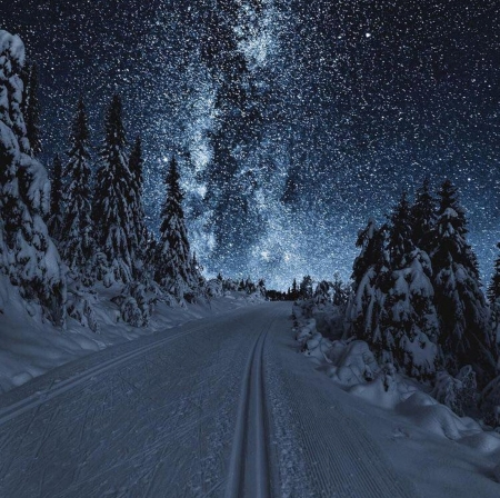 Milky Way at winter - stars, snow, night, winter
