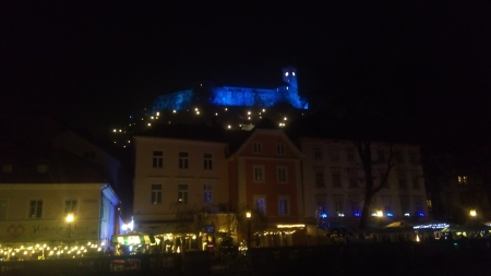 Ljubljana, Magic castle - castle, Magic, New Year lights, Ljubljana