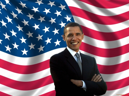 The 44th President of the USA - gray, tie, president, African American, flag, grey, 44, Barak Obama, white, hawaiian, blue, suit, red, Courage, Inspirational, stars, stripes, USA, cloth
