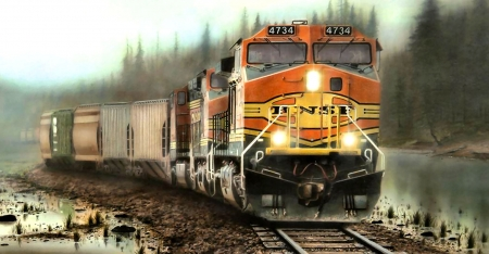 Giants in the Mist - photo, railroad, locomotive, BNSF, beautiful, photography, train, engine, wide screen, tracks