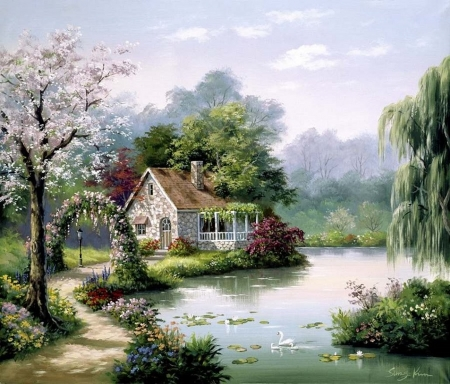 Peaceful place - house, arch, painting, garden, river