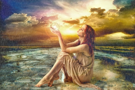 Sunset in the rain - art, glow, beautiful, sunset, sky, woman, clouds, fantasy, girl, rain, road, lady