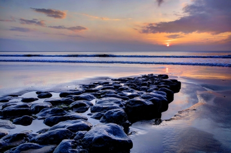 Sunset - ocean, rocks, beach, Sunset, nature