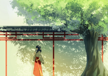 Waiting - tree, girl, orange, anime, cjl6y5r, summer, shadow, manga