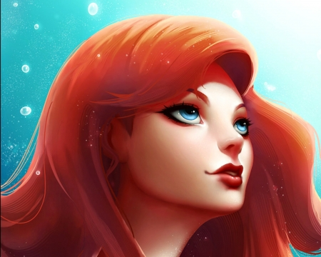 Little mermaid - fanart, luminos, orange, redhead, zarory, fantasy, girl, ariel, face, princess, disney, blue