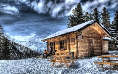 Mountain Bar - snow, benches, bench, man, cabin, clouds, sky, winter