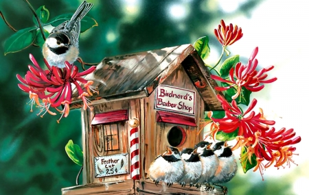 Birdnard's Barber Shop - Birds FC - art, beautiful, illustration, artwork, animal, chickadees, bird, avian, painting, birdhouse, wide screen, wildlife, flowers