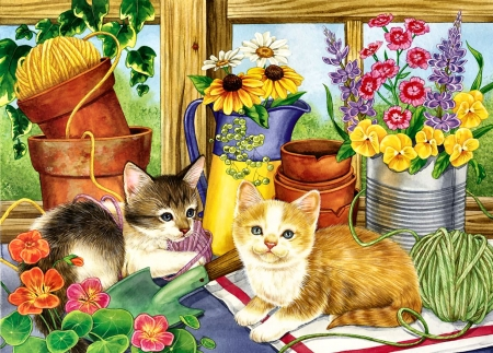 The Twine Twins - Cats F - art, beautiful, pets, artwork, animal, feline, buckets, painting, wide screen, flowers, cats