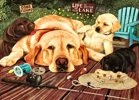 Life is Better at the Lake - Dogs F - art, beautiful, pets, artwork, canine, animal, painting, wide screen, labradors, dogs, puppy