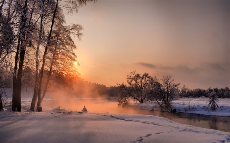 River at Sunset - Winter, Sunset, River, Nature
