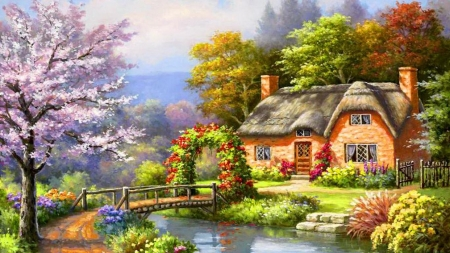 Spring creek cottage - tree, cottage, painting, river, spring