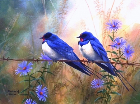 The Blue Martins - paintings, birds, flowers, love four seasons, spring, attractions in dreams, animals, blue