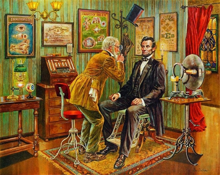 Checkup - Abraham Lincoln - furniture, doctor, painting, president, room, artwork, vintage