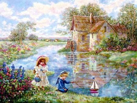 Ship Ahoj ! - boat, watermill, painting, children, river, artwork, vintage
