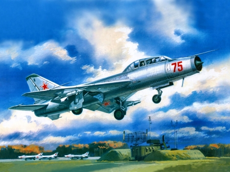 Soviet Training Fighter SU 9U F - art, flight, beautiful, artwork, painting, wide screen, military, scenery, aviation