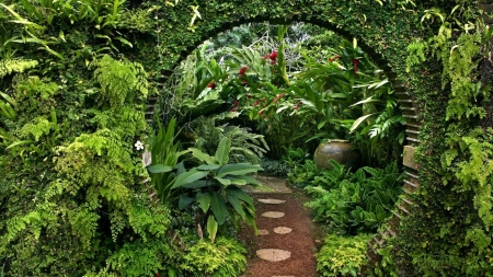 Natures Green - nature, arch, green, plants