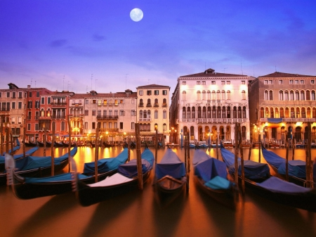 City on the Water,Italy - city, moon, canal, boat, houses, gondolas, ancient, lighting, architecture, reflection, nature, venice