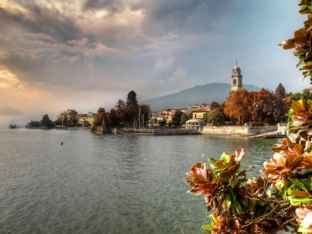 Pallanza City,Italy - city, flowers, clouds, river, italy, houses, pallanza, sky, nature
