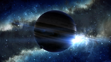 Galactic Horizon - moons, planets, stars, 3d, galaxies, space