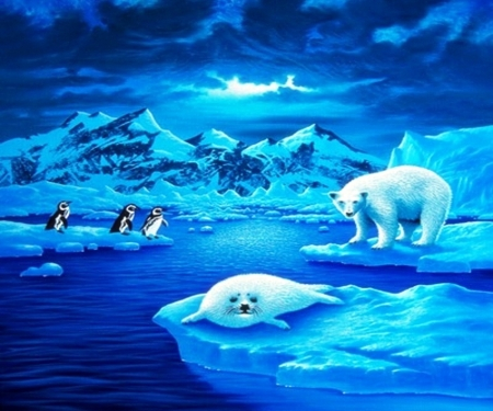 Arctic and antartic worlds - seal, penguin, bear, iceberg, polar, nature, frozen, blue