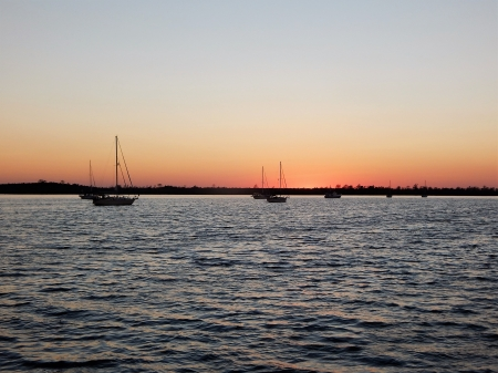 Tuckahoe Point Anchorage - North Carolina, Sunset, Sailboats, Intracoastal Waterway