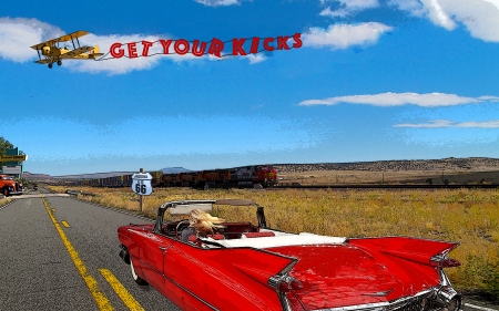 Get Your Kicks - cadillac, highway, train, route 66, arizona, blonde