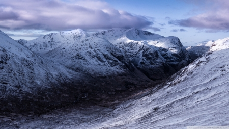 Dark Valley - mountains, Scotland, nature, United Kingdom, valleys, winter