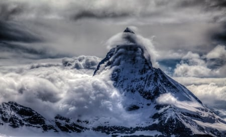 Snowy Peak - mountains, nature, clouds, snowy, winter, landscape