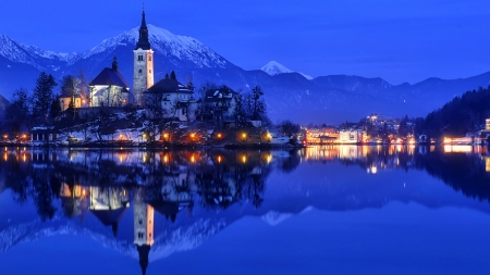 Lake Bled-Slovenia - Bled, bled, dusk, beautiful, sky, snowy, lake, Slovenia, mirrored, lights, mountain, peak, island, reflections, castle, landscape