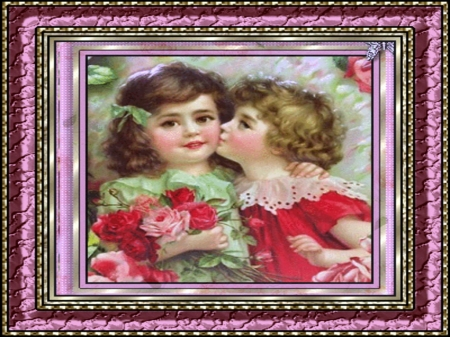 sisters - cute, girl, children, sisters, beautiful, child, framed, vintage