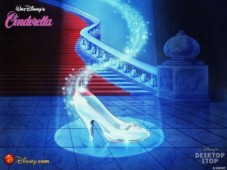 *Glass Slipper* - glow, magic, fairytale, ballroom, cindrella, cartoon, sparkle, glass, slipper, glass slipper, magical, shoes, disney, blue