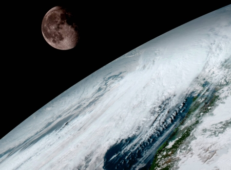 Moon over Planet Earth - fun, cool, moon, earth, planet, space
