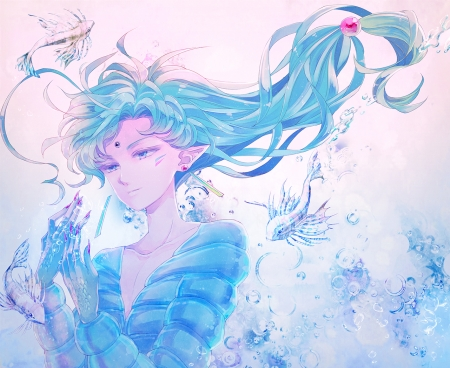 Playing With The Fishes - Fish, Sailor Moon, Anime, Blue Eyes, Transgender, Smile, Water, Fisheye, Blue Hair, Big Eyes, Anime Girl