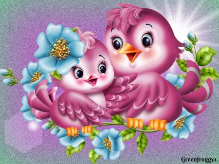 Cute Love Birds 3d And Cg Abstract Background Wallpapers On