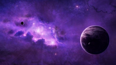 Deep Space Violet - moons, stars, violet, galaxies, planet, space