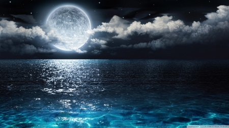 Moon and Ocean - oceans, moon, nature, sea, blue, night