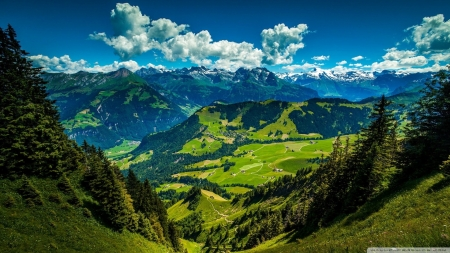 Mountain Landscape - green, landscapes, mountains, nature, valleys