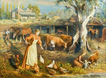 Rancher's Day - rooster, hens, artwork, women, horses, tree, duck, men, people, painting, stable, cows, working, vintage