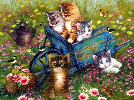 Playtime - painting, cart, flowers, blossoms, garden, kitties, artwork